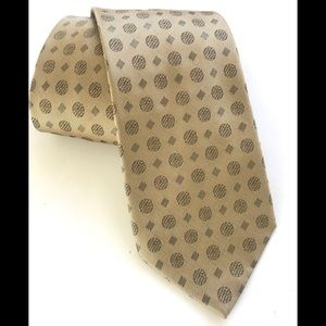 CELINE Men's 100% Silk Tie Geometric Ivory/Yellow